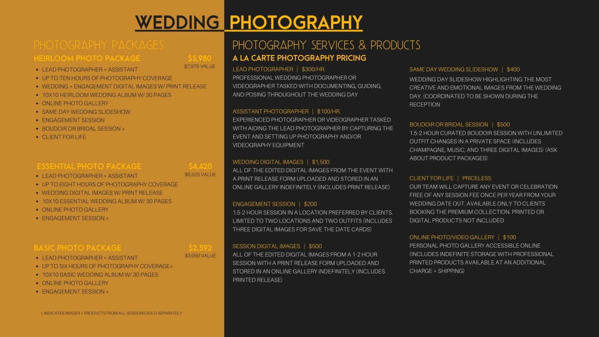 Wedding photography and videography packages pricing off season