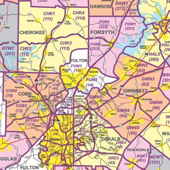 GA MLA North Atlanta Cities Map
