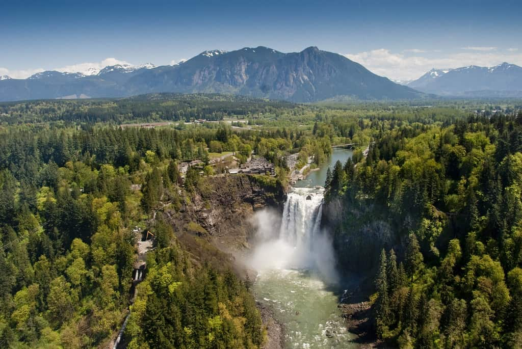 Snoqualmie Falls looking towards North Bend, Mount Si, and the Cascade Mountains