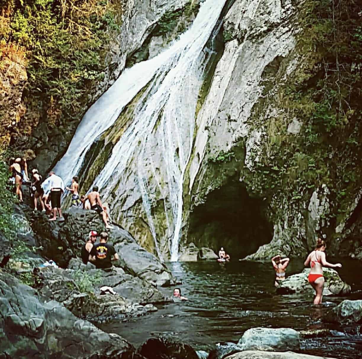Swimming below Lower Twin Falls Olallie State Park