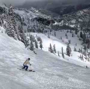Spring Ski Run after a few inches of new snow