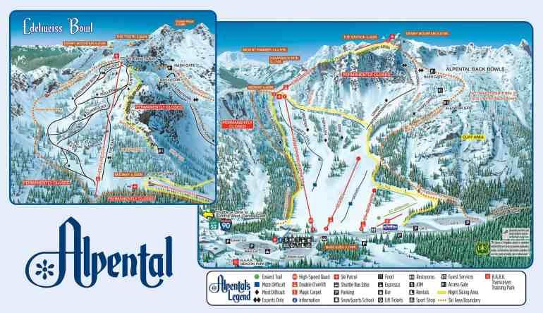 2018 - 2019 Alpental Ski Area Trail Map