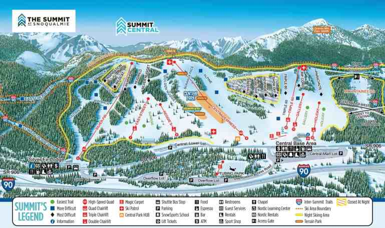 2018-19 Map of Summit Central Snoqualmie Trails