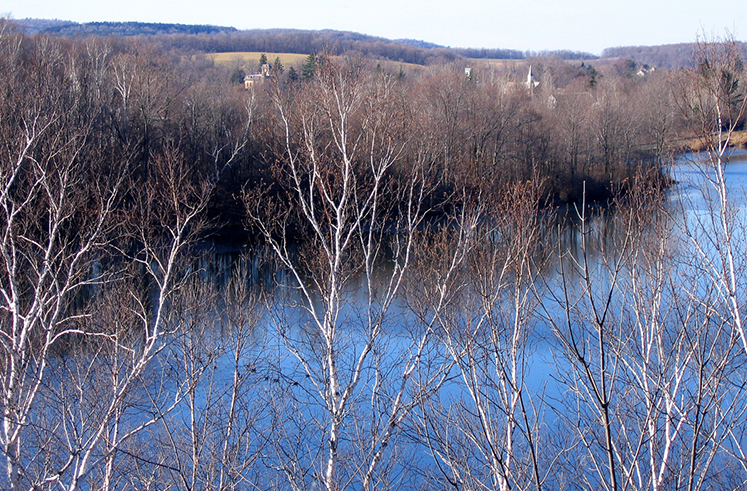 View of Lake Paran from The Robert Frost Trail -- looking west toward the Park-McCullough House and The Mile-Around Woods.