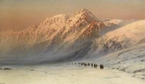 Frosty morning painting Caucasus mountains