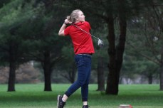 Nashua-Plainfield's Haley Hildesheim tees off Tuesday during a varsity girls golf meet at Cedar Ridge Golf Course in Charles City. (Photo by Chris Baldus)