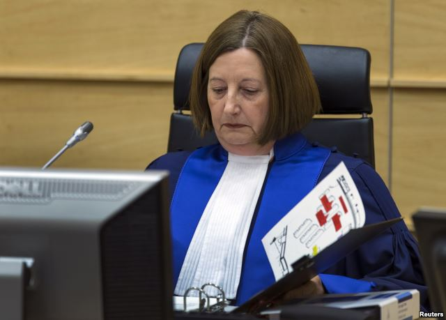FILE - Judge Silvia Fernandez de Gurmendi sits in the courtroom of the International Criminal Court (ICC).