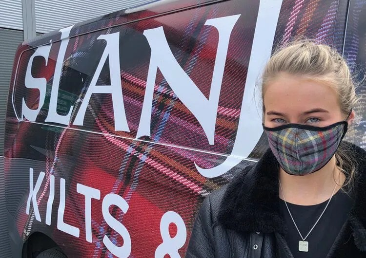 Nicola Sturgeon wore this face mask by Slanj Scotland that supports the Homelessness Charity Shelter Scotland.