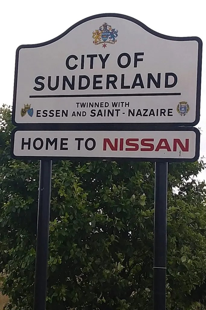 City of Sunderland sign that celebrates itself as the home of Nissan.