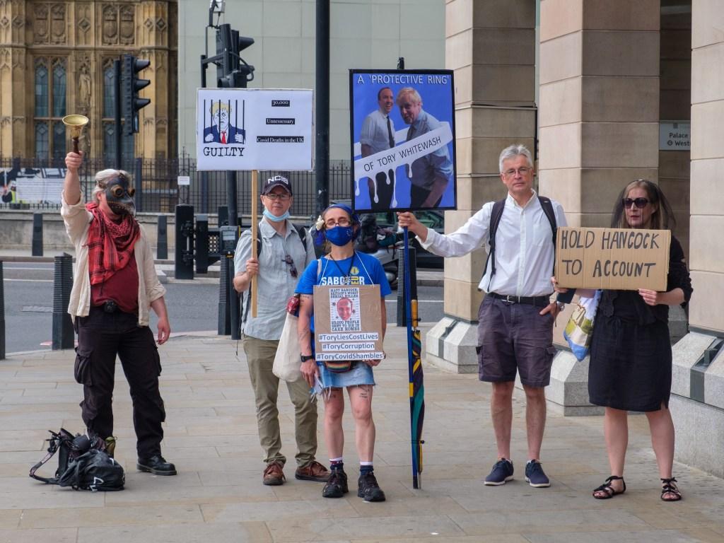Protestors at Westminster when Matt Hancock was at the coronavirus enquiry