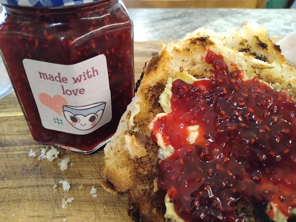 A jar of raspberry jam