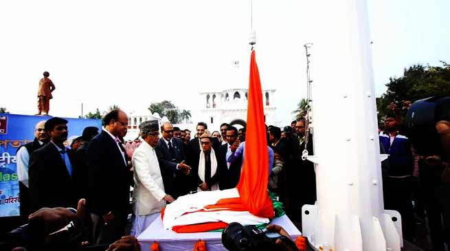 Tripura: CM Manik Sarkar unveiled 100-feet High Mast National Flag