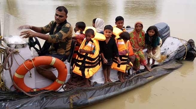 Assam: BSF starts rescue operations in Flood affected areas