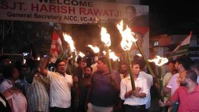 Assam Congress takes out torch light rally against rising fuel prices
