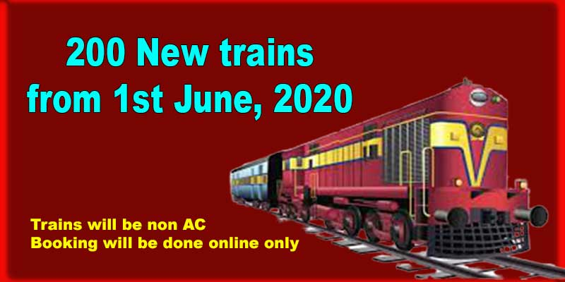 Indian Railways to introduce 200 New trains 1st June, 2020