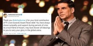 Assam CM thanks Akshay Kumar for Donating 1 Cr towards flood relief