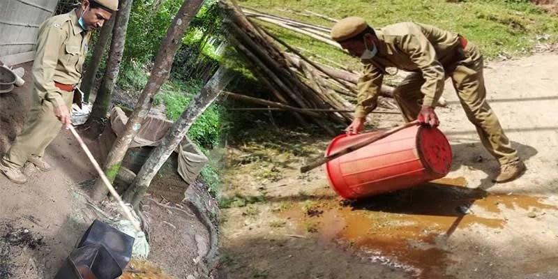 Assam:Illicit liquor, fermented wash destroyed in Hailakandi