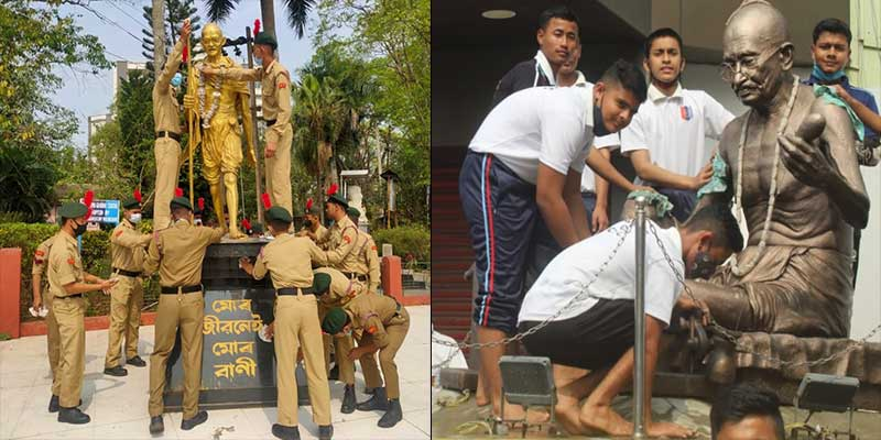 Assam: Statue cleaning drive by NCC cadets