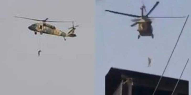 Taliban fly American chopper with body hanging from rope, Video goes viral