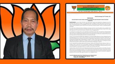 Mizoram:BJP CADC rejects Shanti Jiban Chakma's allegations over reconstruction of Dist committee