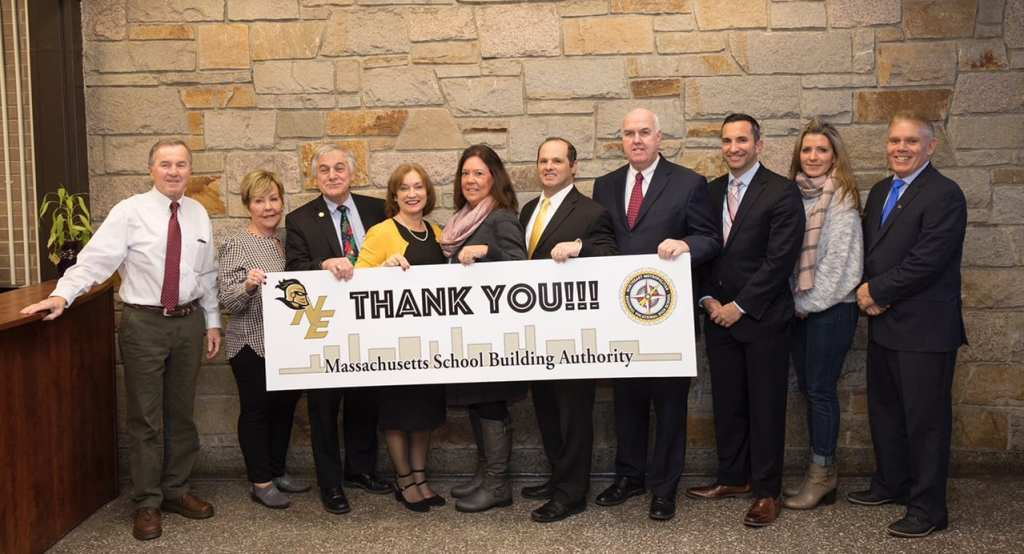 The Massachusetts School Building Authority is partnering with Northeast Metro Tech on a new school building project. Left to right: School Committee member Larry Means, School Committee member Judith Dyment, School Committee member Peter Rossetti, Principal Carla Scuzzarella, School Committee Chair Deborah Davis, Superintendent David DiBarri, School Committee member Robert McCarthy, Director of Finance Jay Picone, School Committee member Dawne Armistead and Joseph Papagni, President of Northeast Metro Tech's Teachers Association. (Courtesy Photo Northeast Metro Tech)