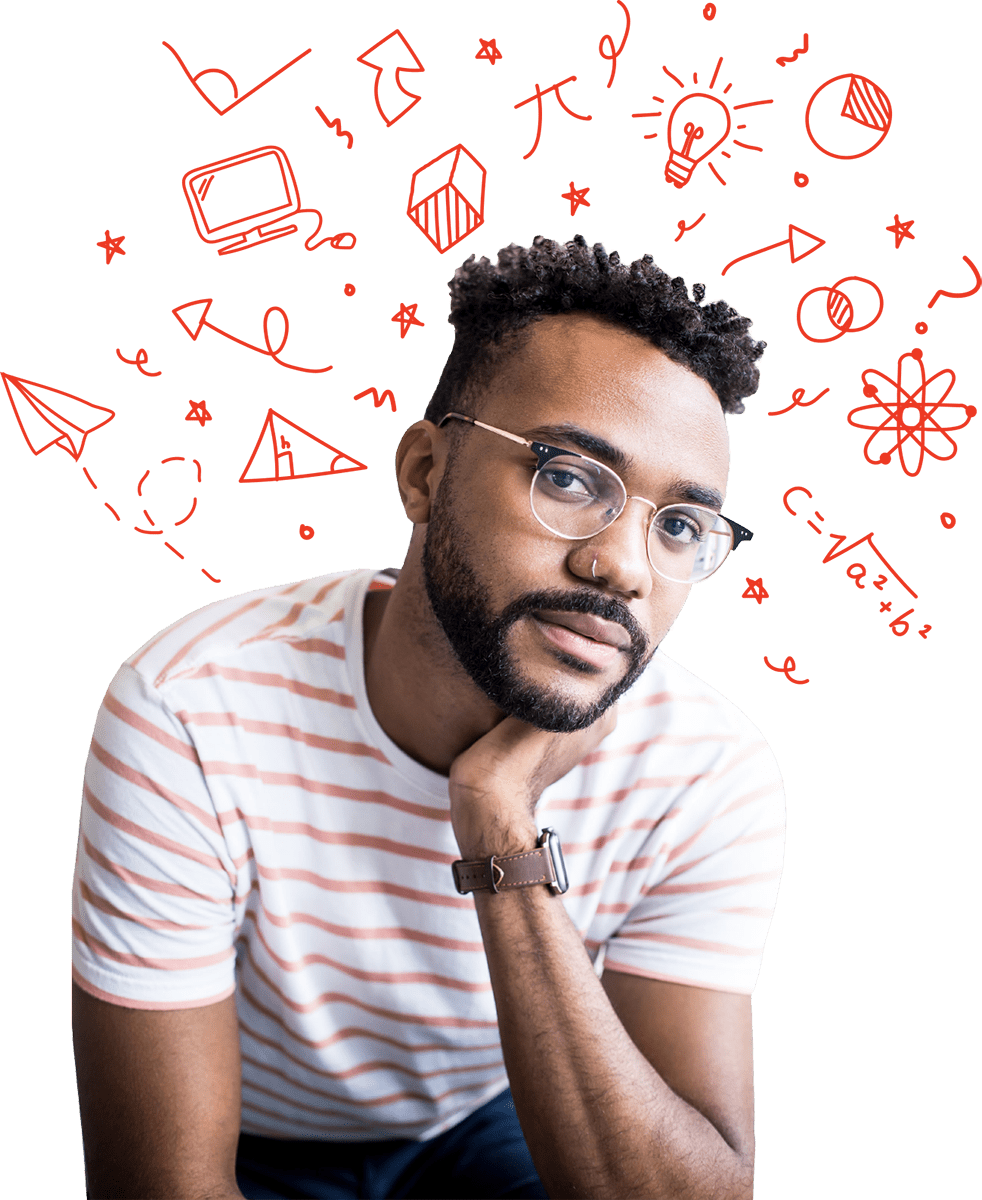 Man glasses engineer with STEM graphics