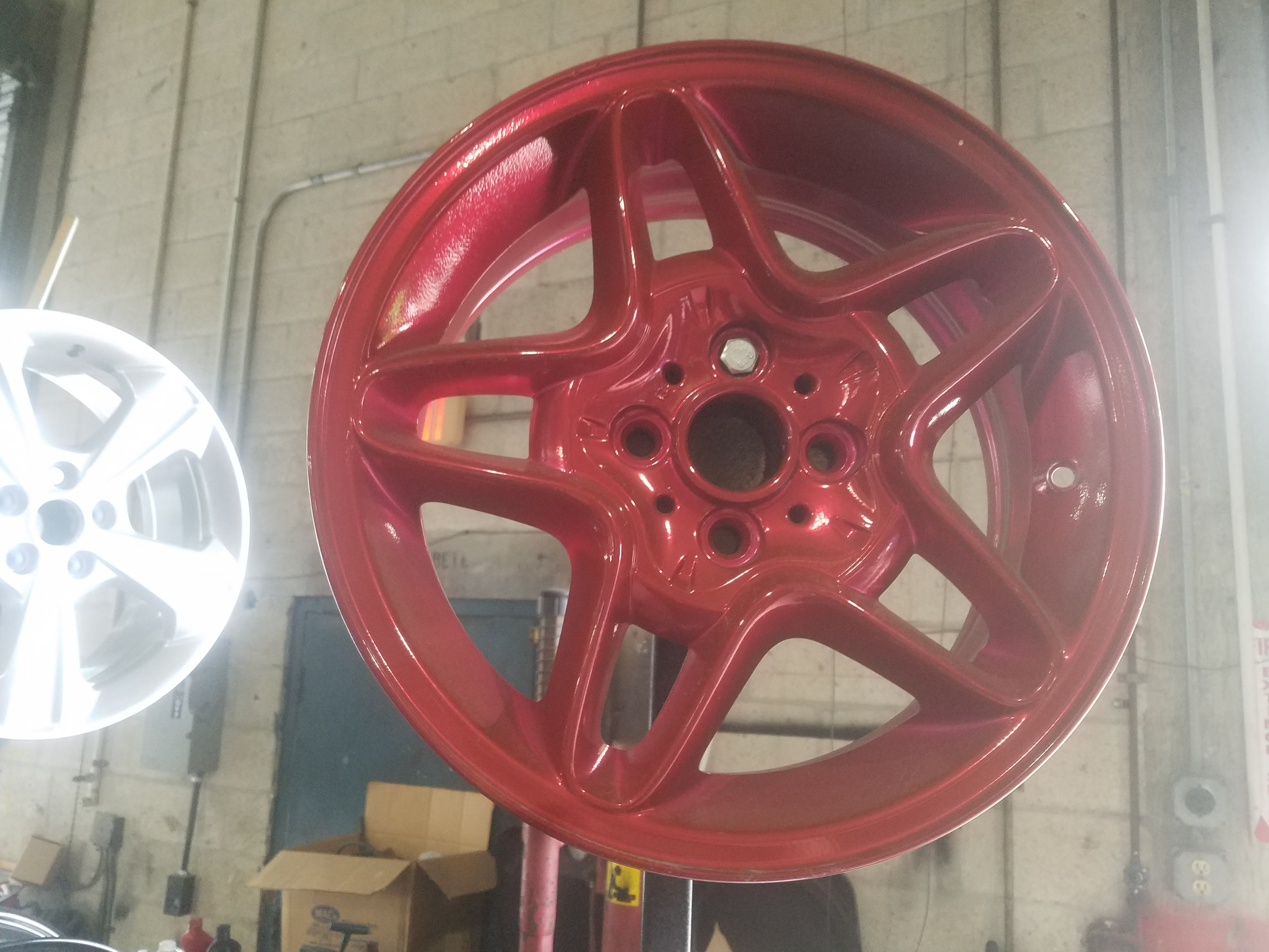 Red Alloy Rims Refinished