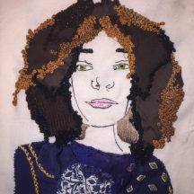 Stitched self-portrait of ED textiles student