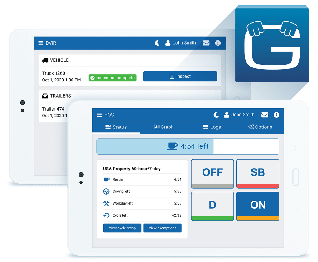 eld compliance software interface on tablet computers