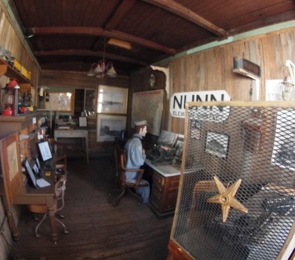 Inside the vintage wood-sided railroad car.