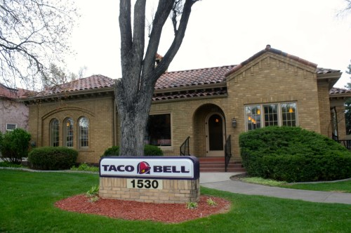 Though I haven't eaten at a Taco Bell in decades, I've got to admit that I send a little love out to the Taco Bell corporation every time I drive by 1530 S. College. Their reuse of this old Mediterranean Revival house warms the cockles of my heart. The house was built in 1929 by R. Irl Mawson.
