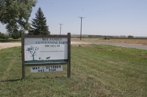 The museum is surrounded by working fields in every direction.