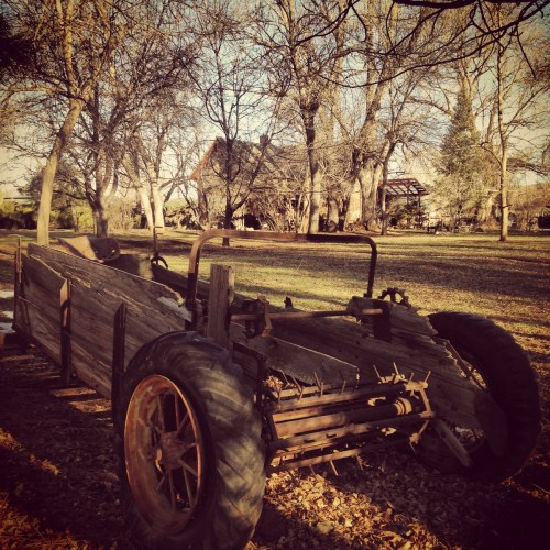 There's an old manure spreader near Rist Canyon Road in front of the Flowers House. (Photo taken on March 11, 2015 and filtered through Instagram.)