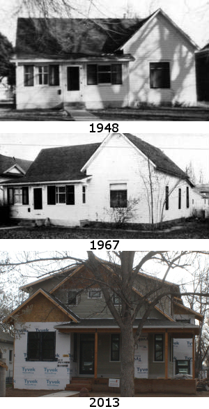 616 Peterson Street was listed as a contributing historic house in the 1980 document for the historic district. But in 2013 the house was replaced with a new structure. (The two older photos are from the county assessor's files and can be found at the FC Archive - 616pet48 and 616pet67.)