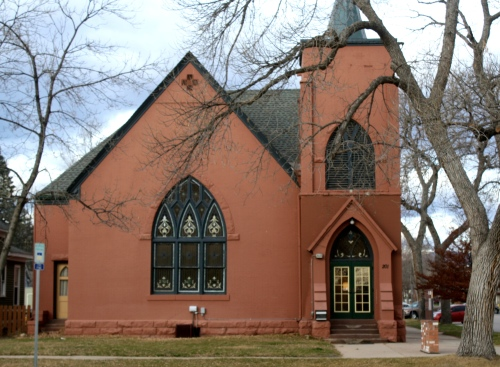 This church was built for a German congregation in the early 1900s. It was designed by Montezuma Fuller. It stands at the corner of Oak and Whedbee and is one of four church buildings located within the Laurel School Historic District.