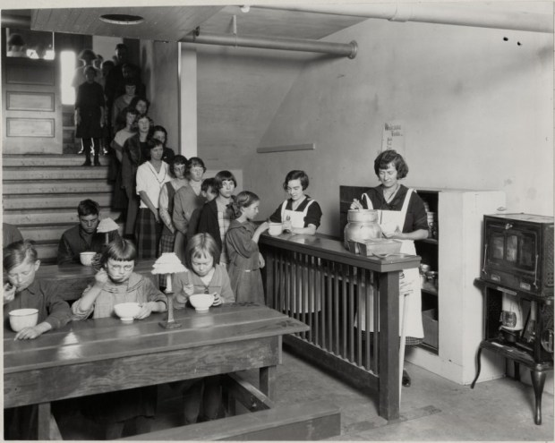 These students at Cache la Poudre school were waiting in line for soup.