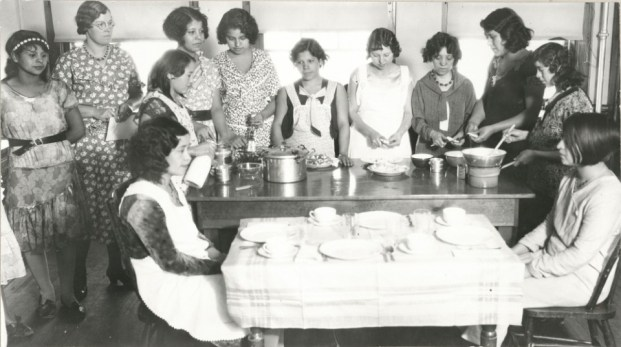 These girls were in a cooking class at Rockwood School (which used to be located on Lemay, between Lincoln and Vine).