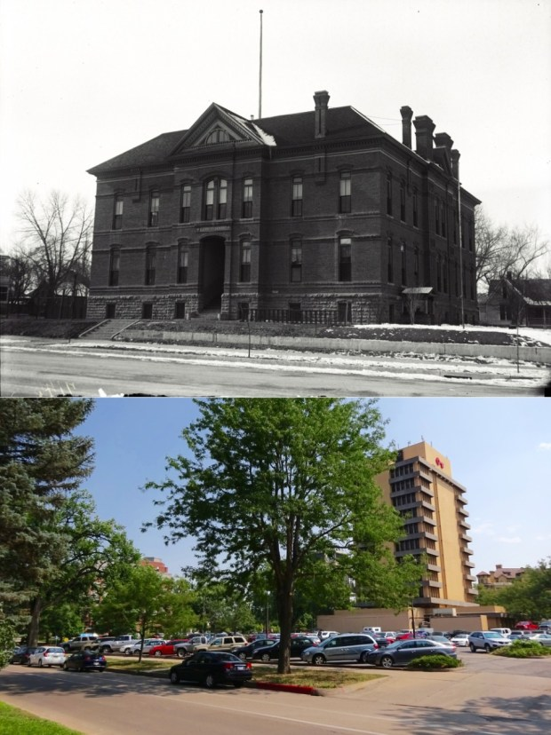 The Franklin School was an elementary school located on W. Mountain Avenue, between Howes and Meldrum. Steele's Grocery used to stand in this location after the school was torn down. The undated older photo is from the CSU Archive.