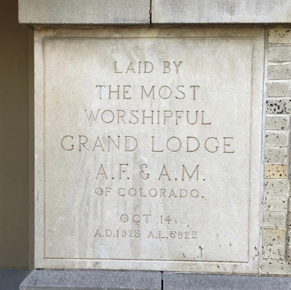 The cornerstone at the Masonic Temple.