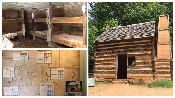 The bunks show at top left are similar to what single or young slaves would have slept in. The cabin, at right, is a recreation of a cabin found on the property and believed to have housed a family of slaves. The chart at bottom left shows the number of men and women slaves living at each of the Washington properties. At least two slaves managed to escape to freedom in Philadelphia. Washington was also the only president to free his slaves in his will.