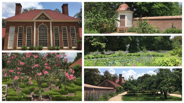 The building at upper left is the greenhouse. The building at upper right is where seeds were stored, and the rest of the photos shows various parts of the restored gardens at Mount Vernon.