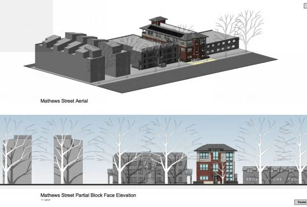 These images of the 3-story office building in context were taken from an LPC agenda.