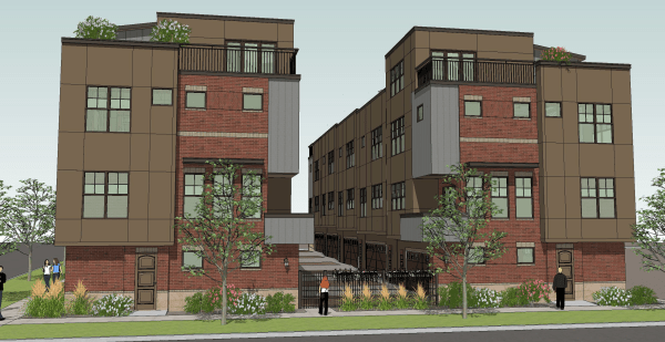 The Townhomes at Library Park as imagined from Mathews street (where the historic cabins are). (Image from NoCoTownHomes.com.)