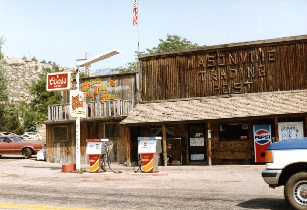The trading post in 1988. (Photo on file at the Fort Collins Archive #H16961.)