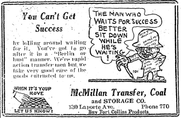 This ad for McMillan's Transfer service is from the July 28, 1922 Fort Collins Courier.