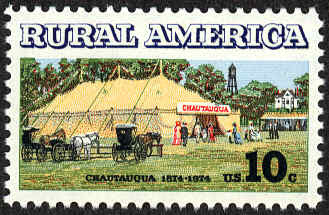 Postage stamp commemorating the 100th anniversary of the first Chautauqua. (From Wikipedia.)