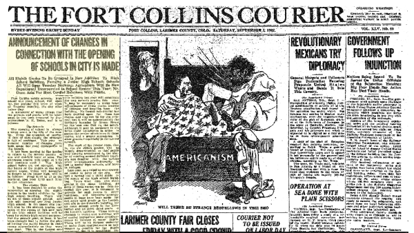 The Fort Collins Courier from September 2, 1922 as found on ColoradoHistoricNewspapers.com.