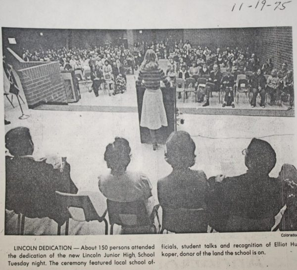 A dedication ceremony was held for the new building in November of 1975. (Newspaper clipping from the Fort Collins Archive.)