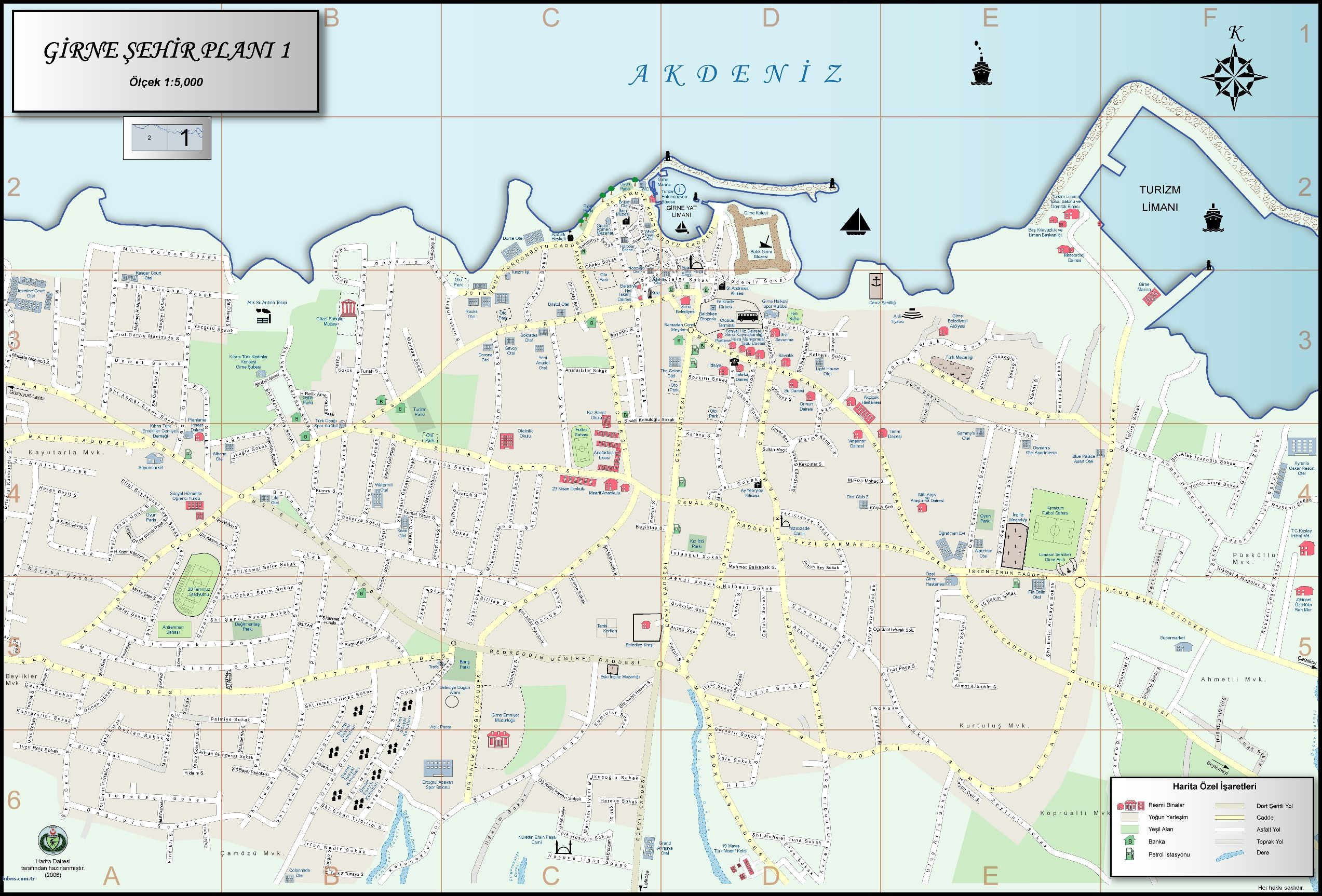 Street Map Of Kyrenia North Cyprus Travel Guide