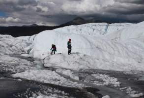 Penny and Florin playing on Matanuska Glacier.